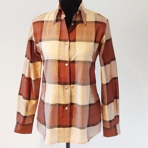 ETRO Silk Plaid Brown Red Button Down Shirt 40